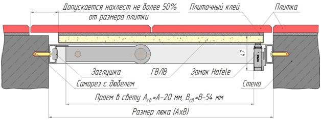 Монтажная схема люка под плитку Стил